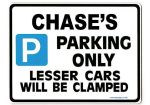 CHASE'S Personalised Gift |Unique Present for Him | Parking Sign - Size Large - Metal faced